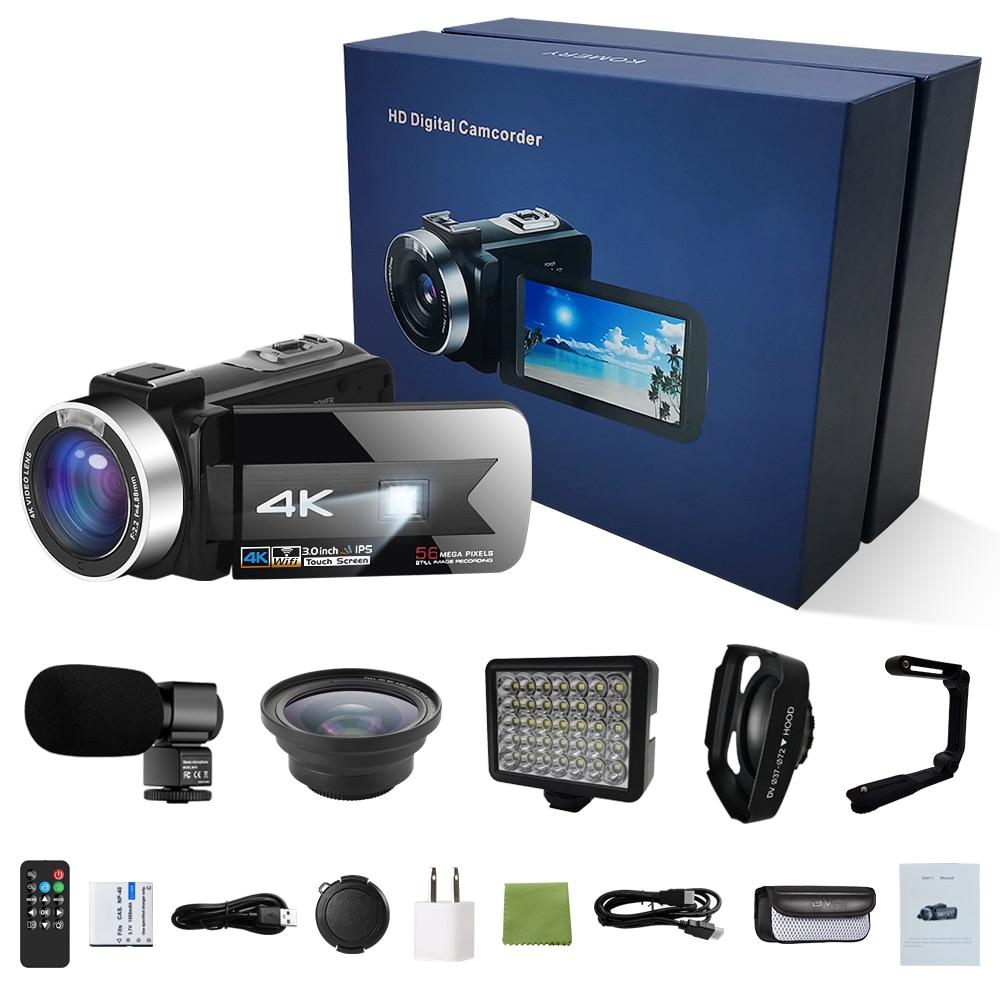 4K Video Camera Digital Camcorder Night Vision 56MP WiFi Built-in Fill Light Professional Camcorder