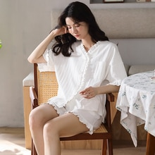 Summer Pajamas set for Women French Vintage sweet girl Sleepwear white cotton homewear V-neck Button