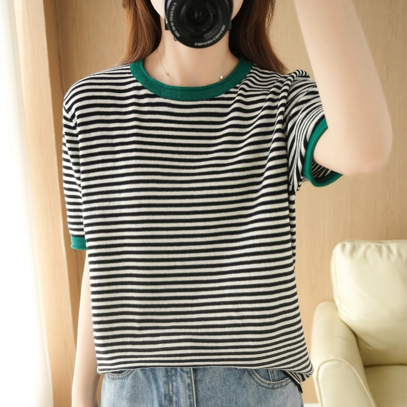 New Arrival summer  Knitted short sleeve Women stripe O-neck Pullovers