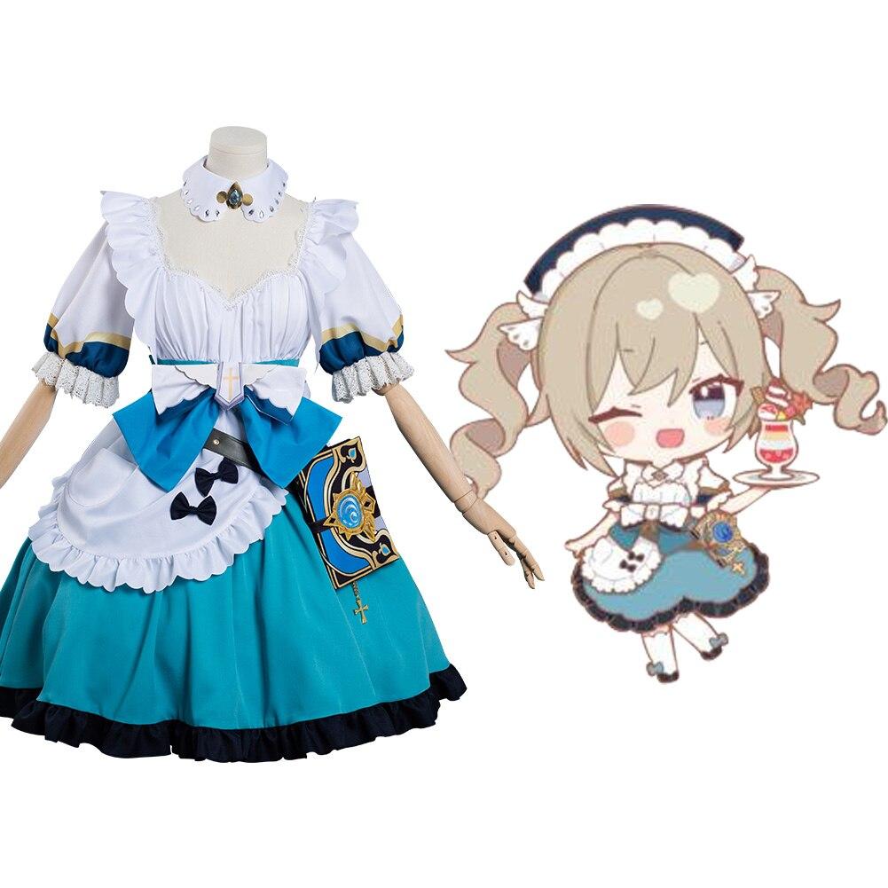 Костюм горничной Genshin Impact «Барбара», костюм для косплея, наряды, карнавальный костюм на Хэллоуин