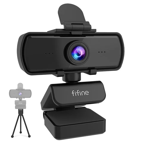 FIFINE 1440P Full HD PC Webcam Tripod for USB Desktop and Laptop, Live Streaming Webcam for Webcam ...
