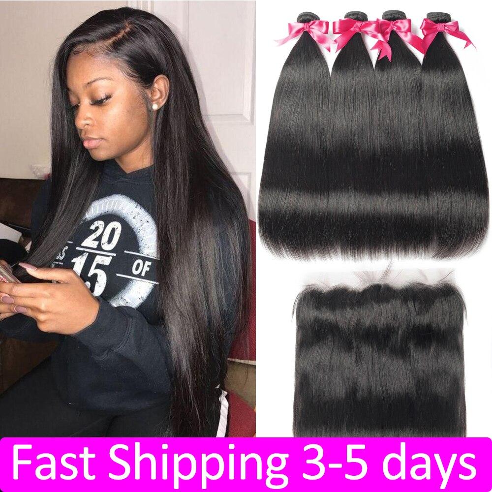 Straight Hair Bundles With Frontal 13x4 Lace Closure Brazilian Hair Weave Bundles 32 34 36 Human Hair 3 4 Bundles With Closure