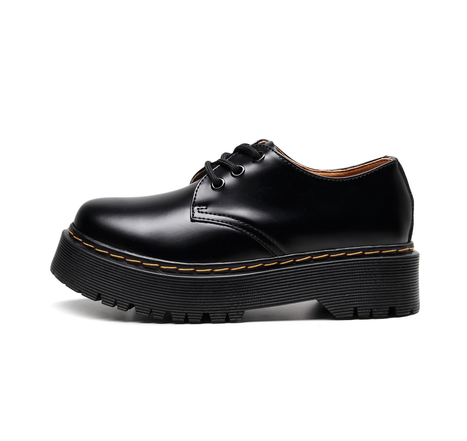 Women Shoes Oxford Platform Heels Casual Leather Fashion British Martens Rubber Hombre Ladies Dress Shoes