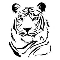 male tiger head paper motorcycle car sticker fashion body decoration pvc waterproof decal blackwhiteredlasersilver
