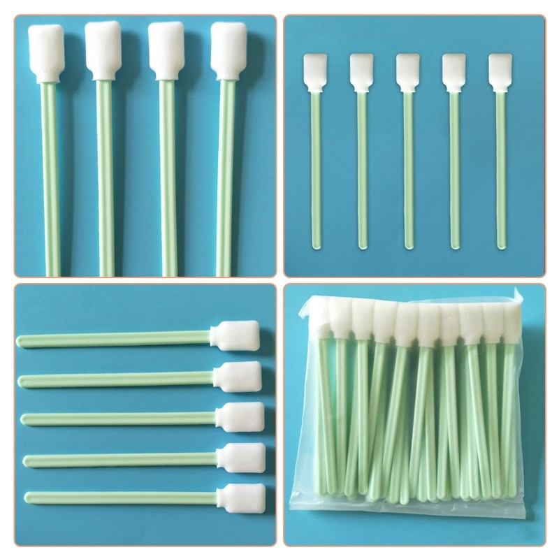 50Pcs/Set Square Rectangle Sponge Tip Foam Swab Green Dust Free Cleaning Sticks
