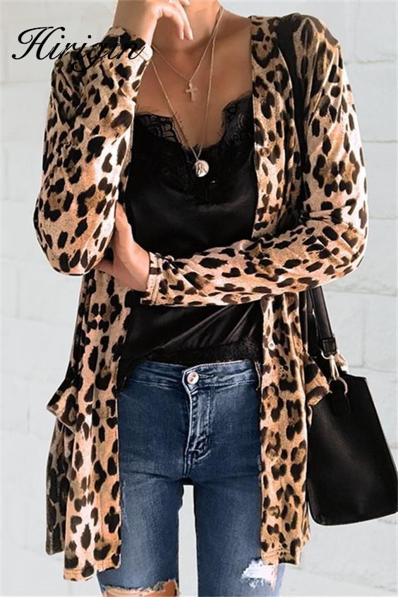Women Leopard Printed Cardigans animal print blouses Shirt kimono cardigan female 2019 Autumn Long Sleeve female feminino Tops