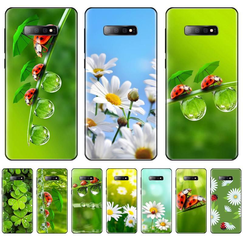 Funda de teléfono negra de silicona con diseño de mariquita de cuatro hojas para Samsung Galaxy S5 S6 S7 S8 S9 S10 S10e S20 edge plus lite