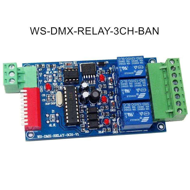 3CH DMX 512 فك تتابع تحكم RGB LED قطاع وحدة تفريغ عقدة 5 ~ 24V WS-DMX-RELAY-3CH-BAN