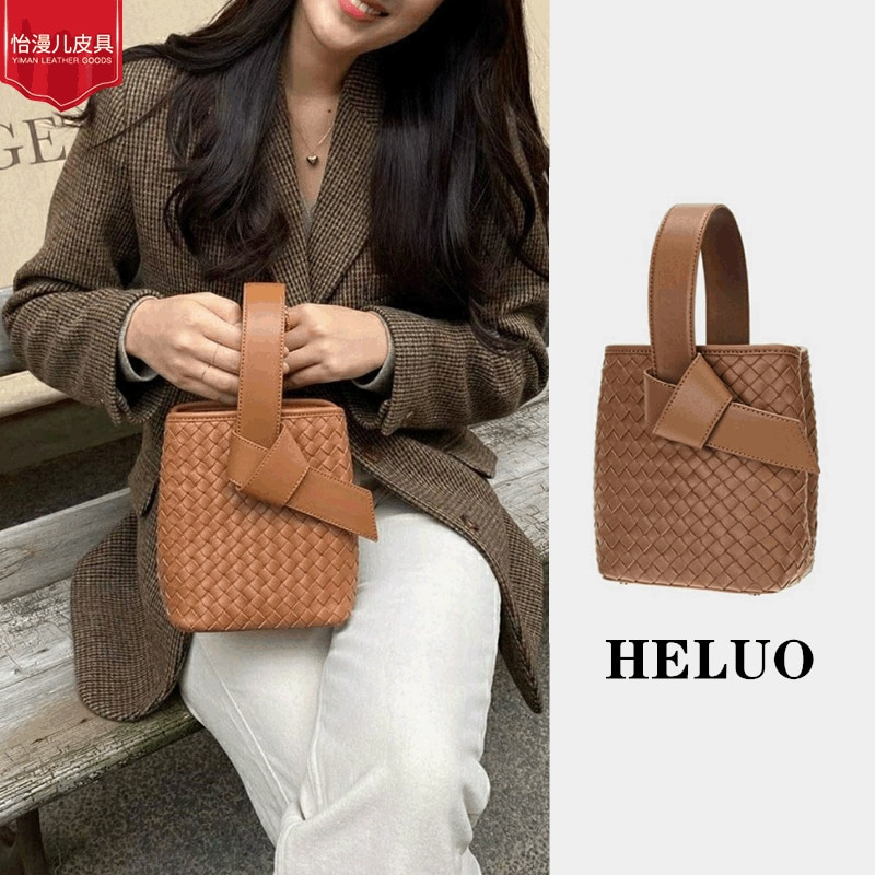 Lace-up Handbag Woman 2021 Summer Fashion Hand-held Bucket Bag Woven Bags