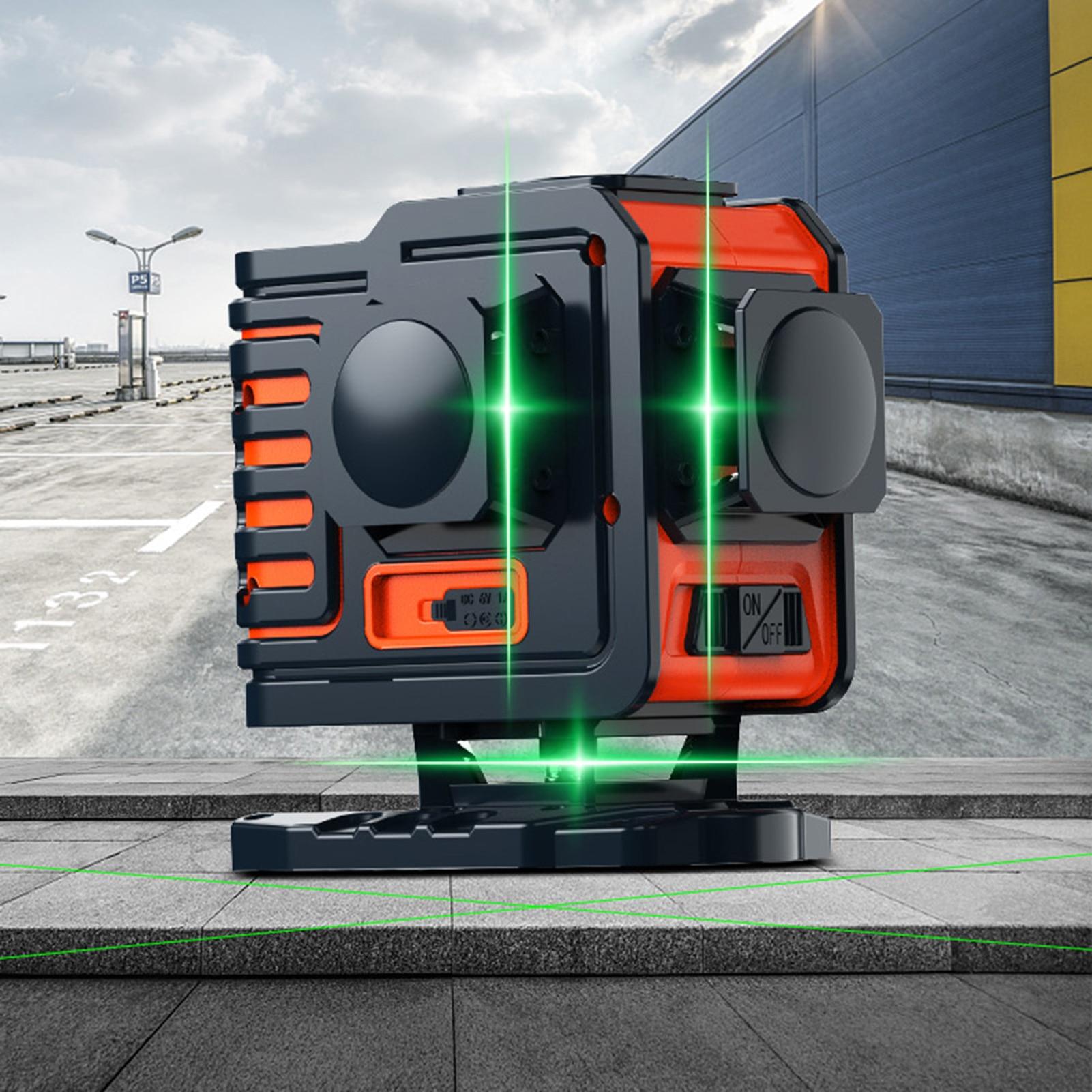 Horizontal e Vertical Linha de Feixe de Laser Linhas Cruz Linha Laser Nível Auto-nivelamento 360 Super Brilhante Poderosa Verde 12 3d