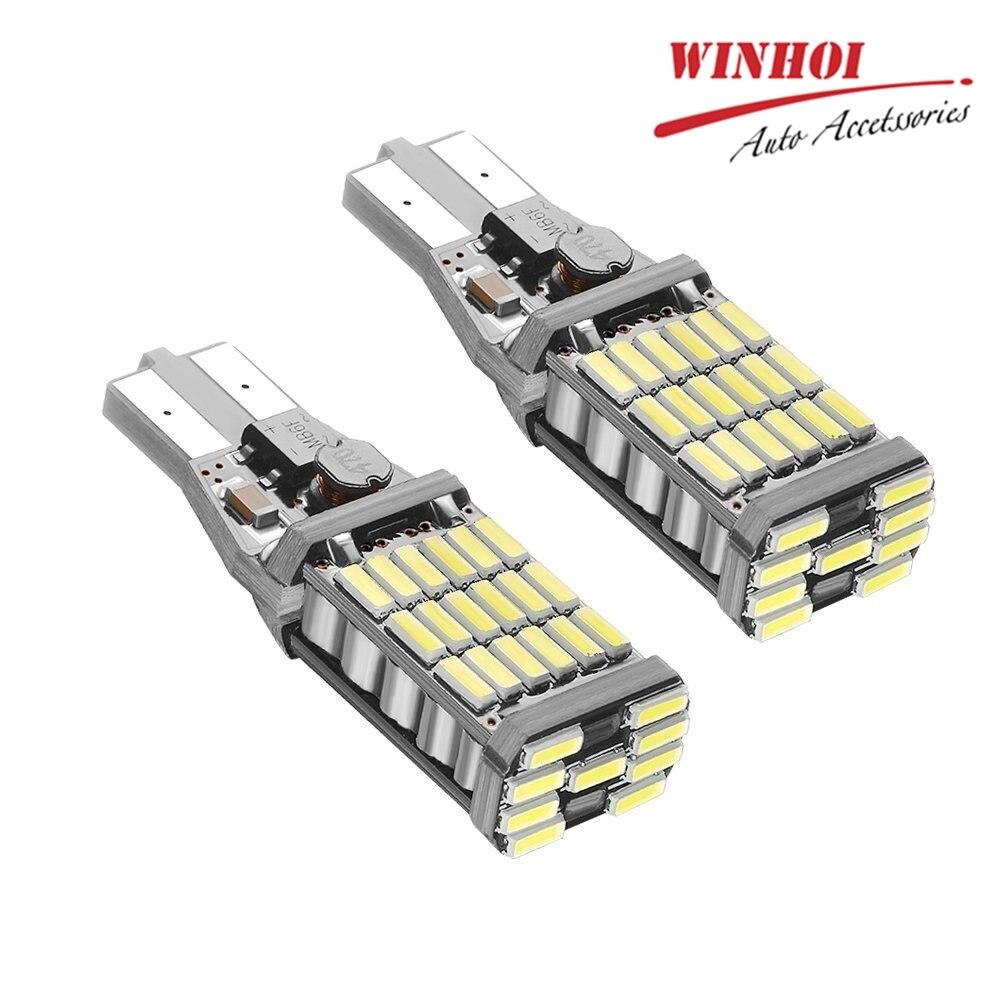 W16W T15 T10 4014 45SMD LED lámpara de luz de lectura de cúpula de coche luces interiores bombillas sin errores cuña lateral de coche lámpara de luces 6000k