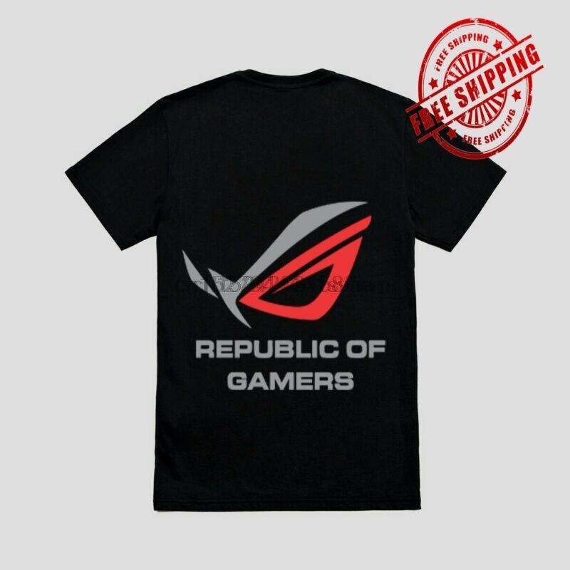 Camiseta negra con LOGO ROG de la República de los jugadores talla S-2XL