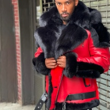 2021 New Mens Fashion Leather Jacket Solid Color Thicken Plus Velvet Fur Collar Hooded Zipper Long S