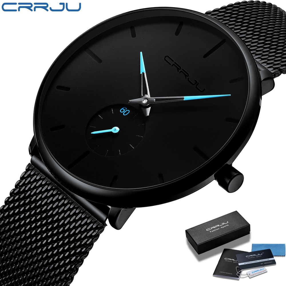 CRRJU Fashion Mens Watches Top Brand Luxury Quartz Watch Men Casual Slim Mesh Steel Waterproof Sport