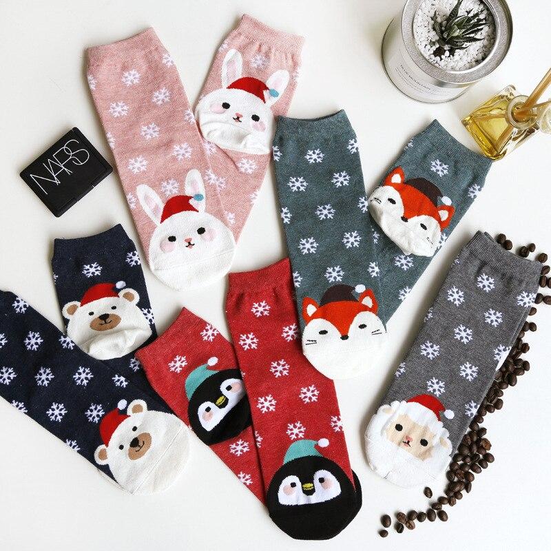 1 пара, женские эластичные короткие носки с принтом в виде снежинок