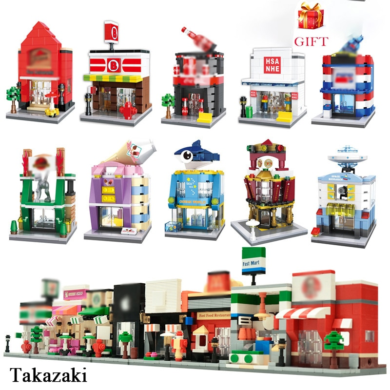 City Mini Street View 3D Model Building Blocks KFEC Cafe Apple Retail Store Architecture Bricks Toys For Children Gifts 280 pcs mini city street view building blocks coffee shop hamburger store city diy bricks toys for children christmas gifts