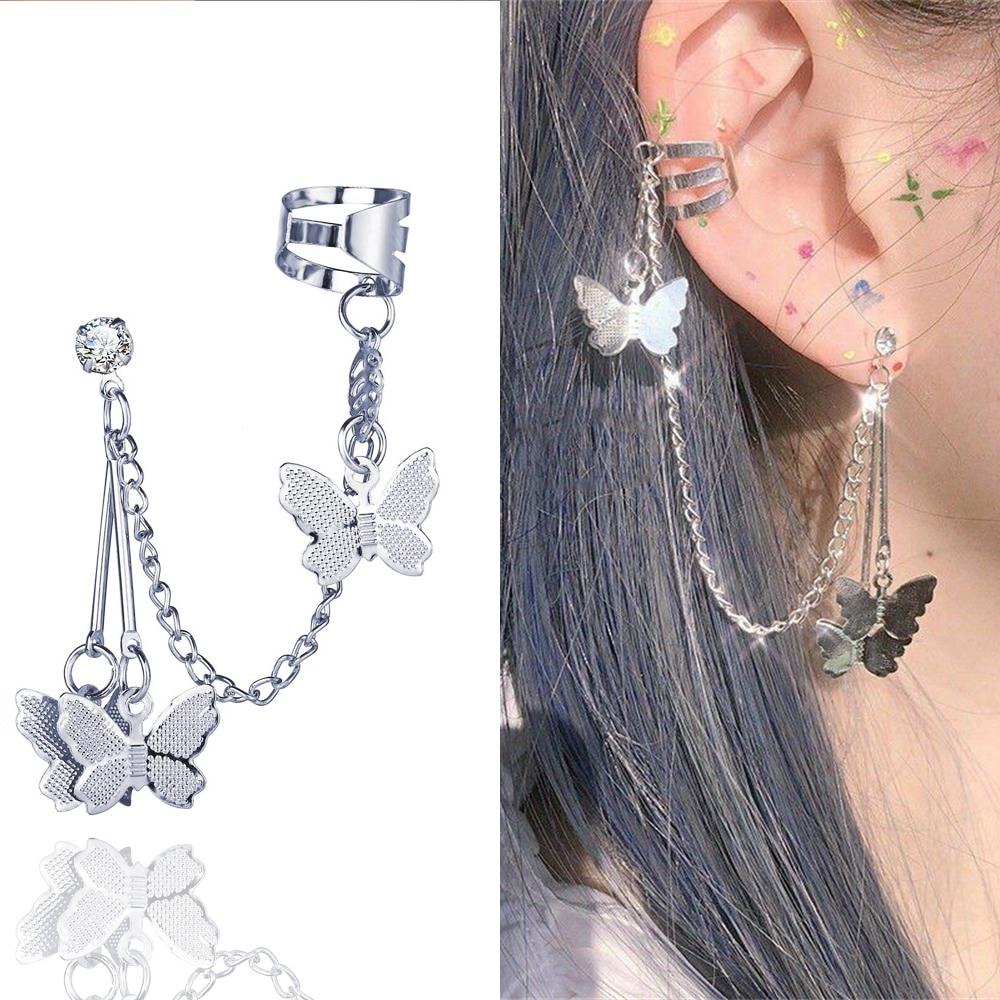 2021 Fashion Butterfly Clip Earrings Ear hook Stainless Steel Ear Clips Double pierced Earring Earrings Women Girls Jewelry
