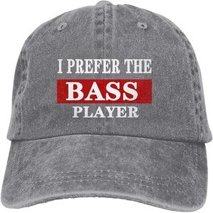 I Prefer The Bass Player Sports Denim Cap Adjustable Unisex Plain Baseball Cowboy Snapback Hat