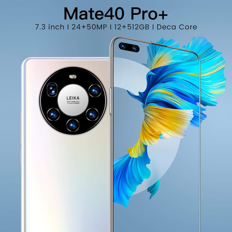 هاتف ذكي 5G بشاشة 7.3 بوصة مع ذاكرة كبيرة سعة 12 جيجابايت + 512 جيجابايت لهاتف هواوي ميت 40 برو + الهاتف المحمول سامسونج