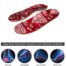 Red Christmas Inserted EVA-Orthopedic Insoles, Orthotics Arch Support insole for Foot Valgus Men\Wom