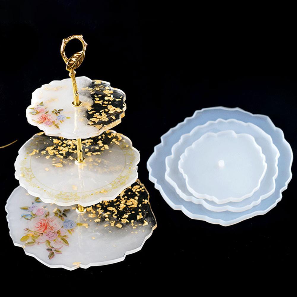 Herramientas para Tartas, posavasos de Plato de frutas Irregular de 3 niveles, molde de fundición de silicona epoxi DIY, soporte para Tartas, decoración para bodas