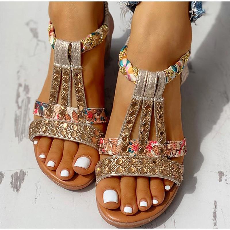 Sandalias femeninas estilo bohemio para mujer, zapatos de playa, gladiador de cristal...