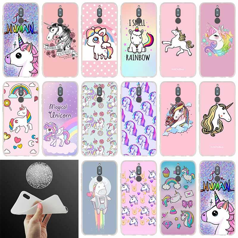 Caso Kawaii adorable unicornio caballo rosa para Huawei Mate 20 10 Lite 20 pro s Nova 3 4 3i y9 y6 y5 y7 pro 2019 de 2018 de 2017 20X cubierta Fashion Cases