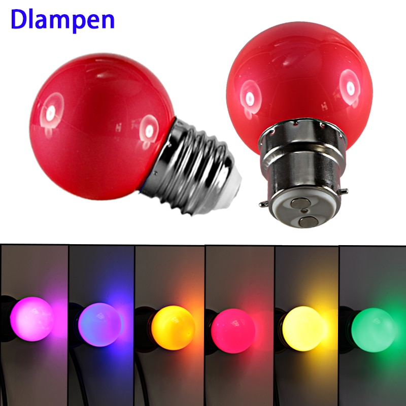 G45 mini bombilla led colorida E27 B22 110v 220v 12v 24v Lámpara decorativa al aire libre iluminación rojo azul amarillo verde púrpura blanco