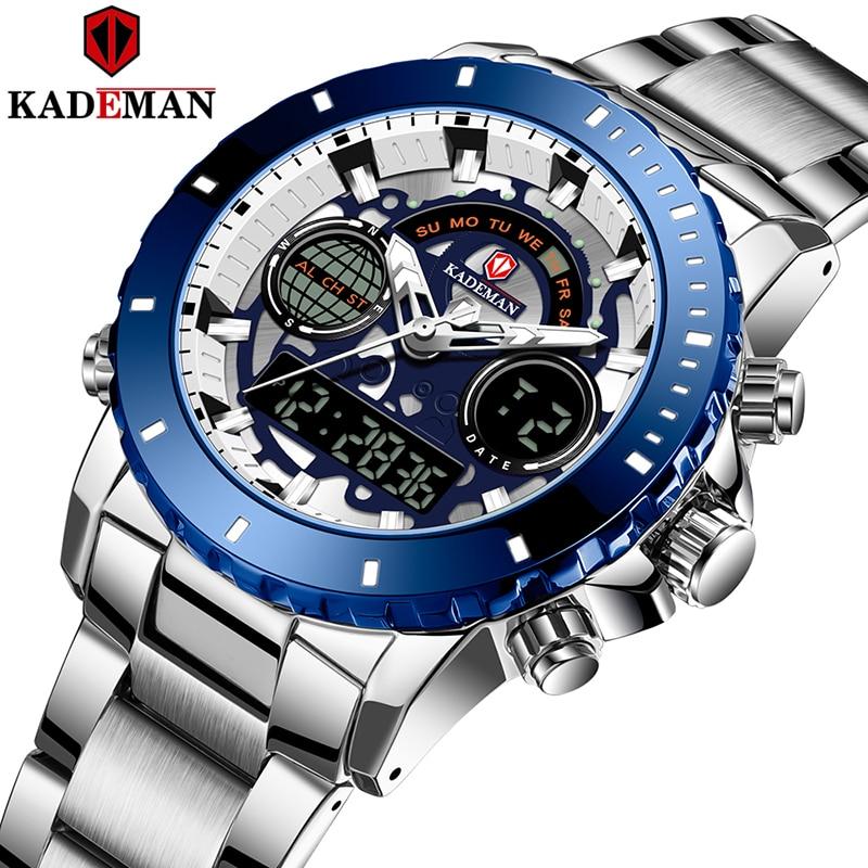 KADEMAN-ساعات رياضية للرجال ، ساعات رقمية ، كوارتز ، LCD ، فولاذية بالكامل ، عسكرية