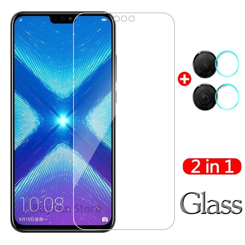 2 en 1 para Huawei Honor 8X Protector de pantalla de vidrio templado para Huawei Honor 8X JSN L22 L21 honor8x lente de la cámara de película protectora
