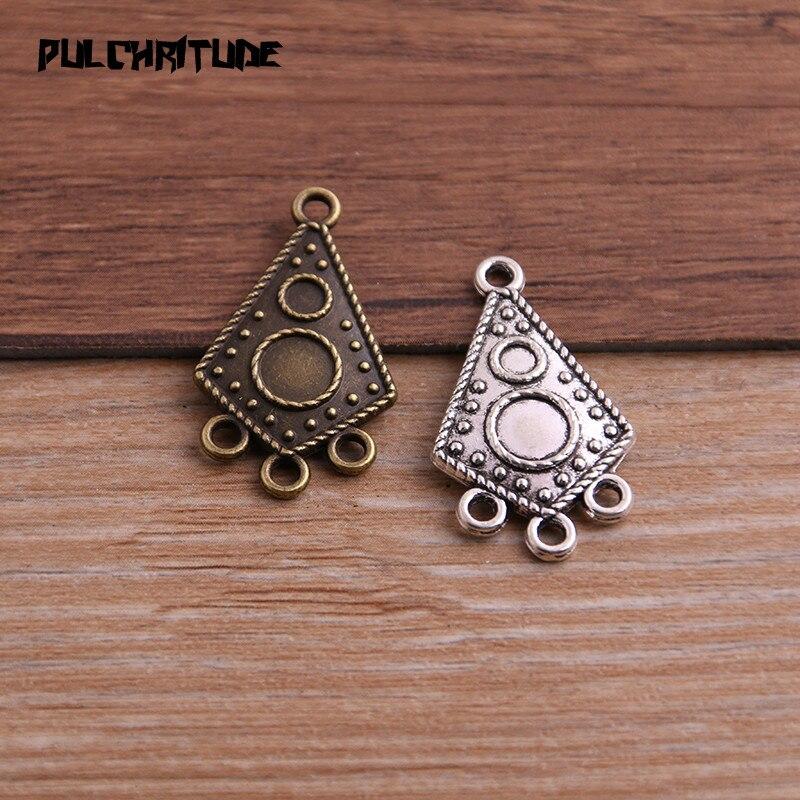 Collier pendentif en alliage de Zinc, deux couleurs 17*30mm, breloque collier bijoux, bricolage-même, connecteur pour motif irrégulier, 12 pièces
