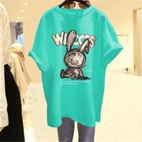 summer new style bear short sleeved mid length t shirt womens loose top plus size tshirt 100 kg