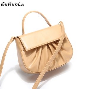 Luxury Women Crossbody Bag Semicircle Saddle Bags Female Ruched Soft Leather Shoulder Bags For Ladies Handbags Designer