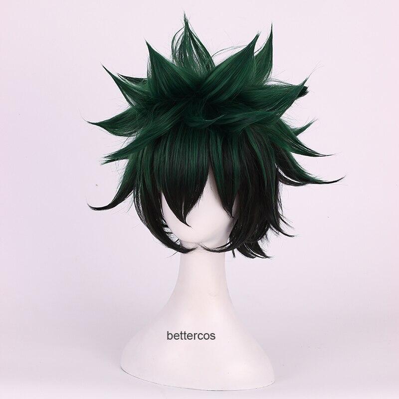 De alta calidad mi Boku no Hero Academia Izuku Midoriya pelucas de Cosplay verde corta negro resistente al calor Peluca de pelo sintético + peluca Cap