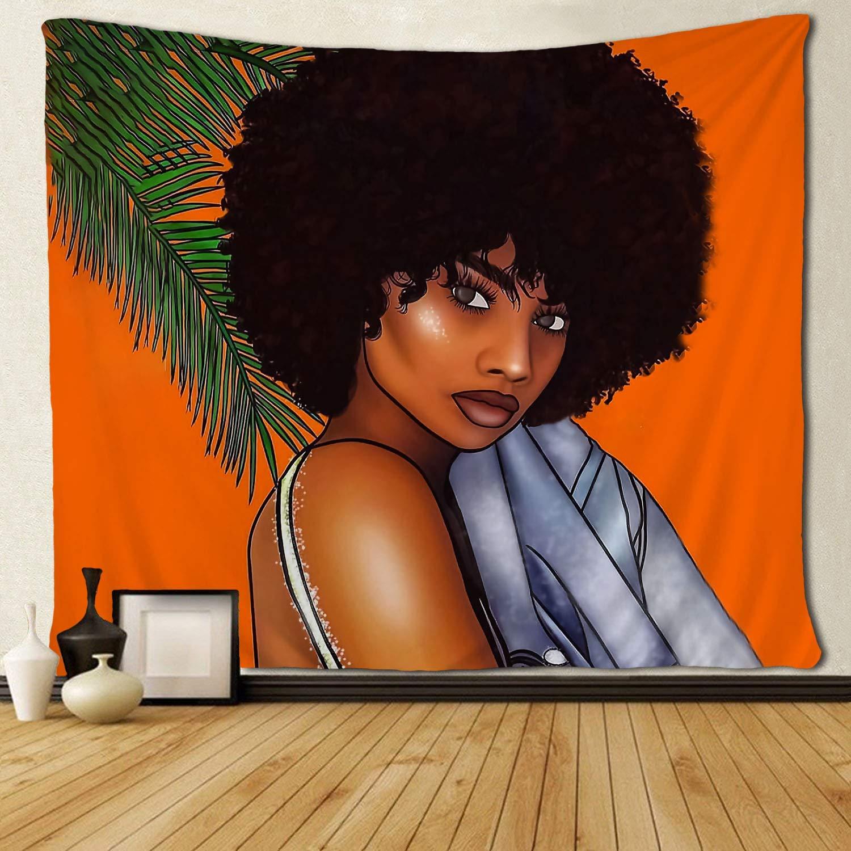 African American Women Girl Orange Design Custom Tapestries