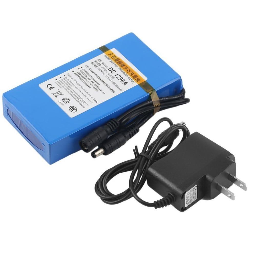 ¡Envío gratis! Batería Lipo portátil 9800mAh DC 12V 12,6 V paquete súper recargable adaptador de enchufe EU/US para videocámara CCTV