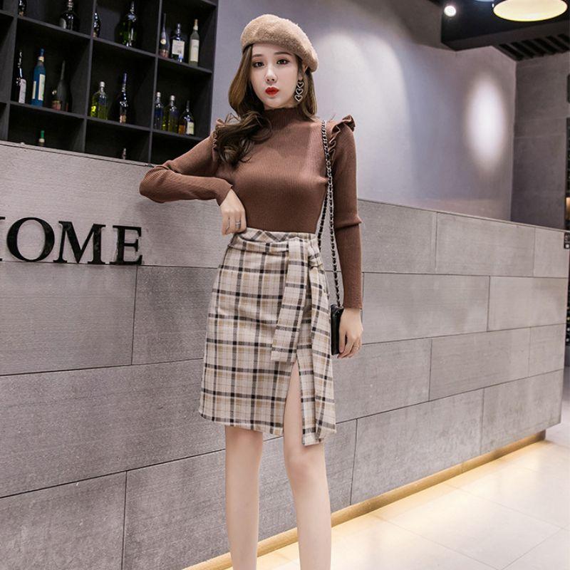 Autumn Winter New High Waist Skirt Wool Warm Lace Up Package Hip Skirt Korean Style Retro Plaid A-Line Skirts Hot
