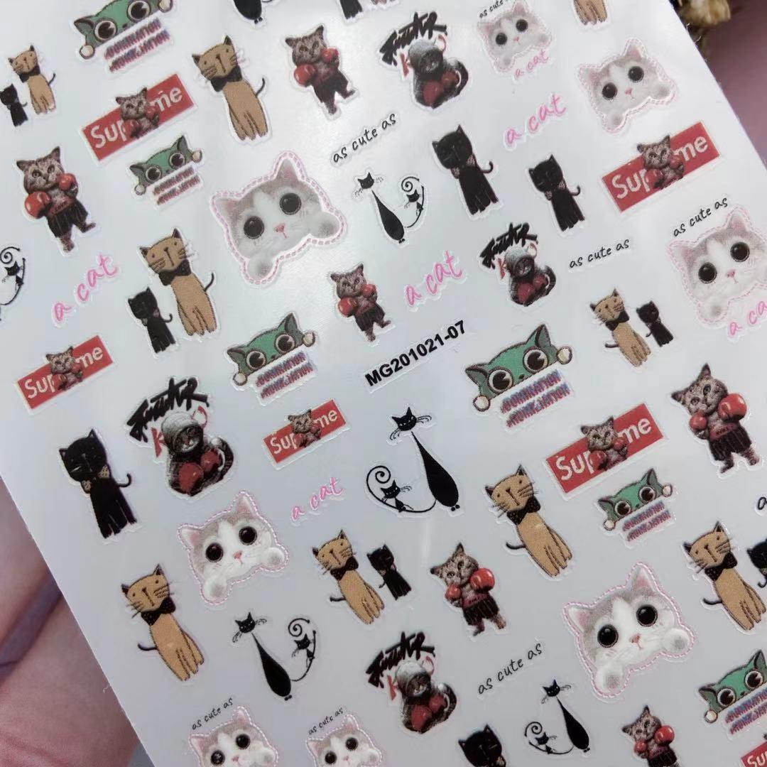 3D Nail Stickers Cartoon Squirrel Kitten Design DIY Skills Nail Art Decoration Packaging Self-adhesive Transfer Decal Slider