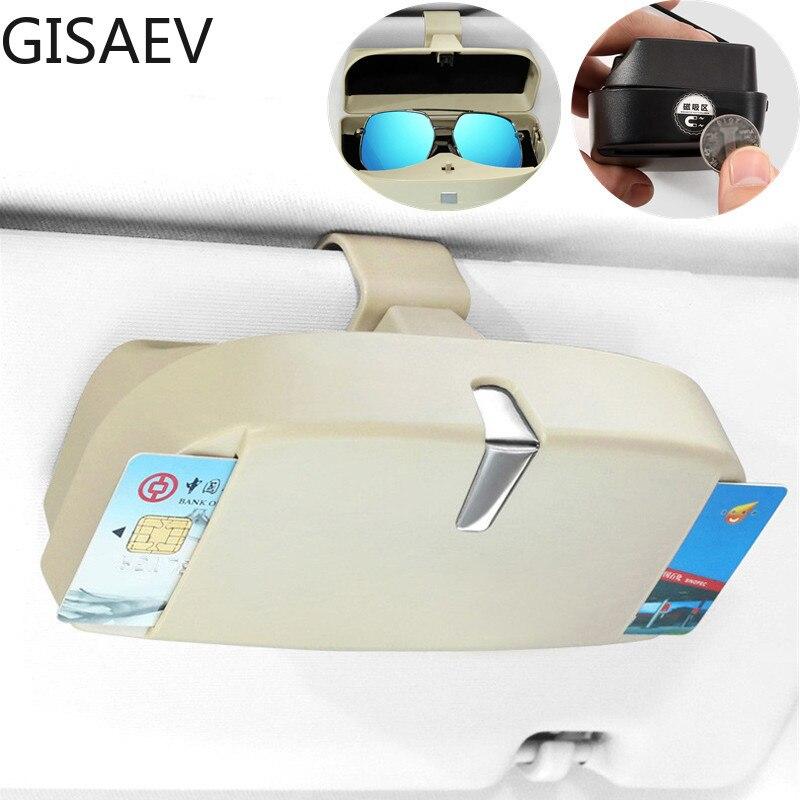 GISAEV Glasses Case Multifunction Magnetic Car Glasses Box Storage Sunglass Holder Car Sun Visor Card Bill Sunglass Storage Box