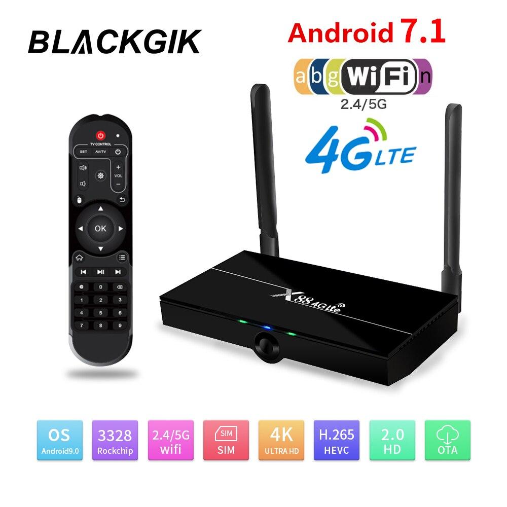 X88 4G Lte Android 7,1 caja de TV RK3328 Quad core 2,4/5G Dual Wifi 4K HD 2GB 16GB reproductor multimedia GB juego Set Top Box con tarjeta SIM