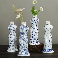 blue and white porcelain flower arrangement creative simple home ceramic desktop decoration chinese crafts small vase