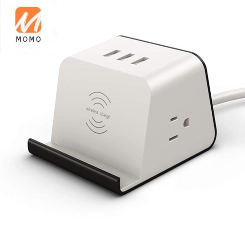 US power socket strip with USB port and wireless charging surge protector power supply