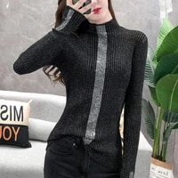 3806 shiny diamonds women sweaters and pullovers turtleneck knitwear sweater casual tight knitted top ladies black green blue