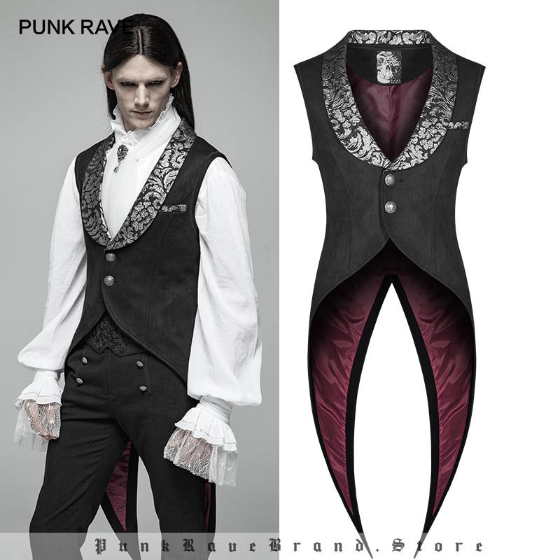 PUNK RAVE Mens Gothic Swallow Tail Retro Vest Fashion Steampunk  Vintage Waistcoat Stage Perform Jacket Vests Men Visual Kei