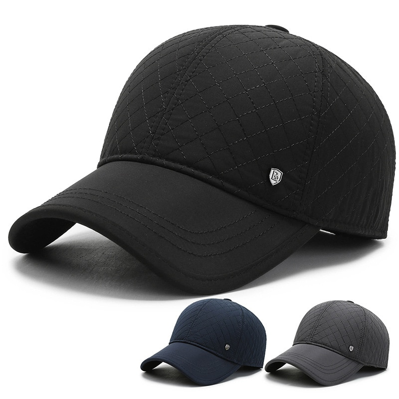 Мужская зимняя теплая шерстяная бейсболка, кепка с наушниками и металлической пряжкой, Охотничья кепка со складками