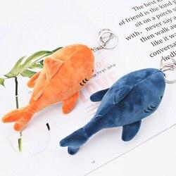 Simulação bonito tubarão pelúcia chaveiro pingente brinquedos macio dos desenhos animados baleia recheado boneca mochila chaveiro saco pingente crianças presente