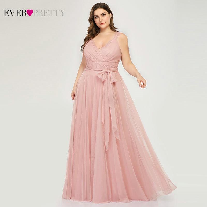 Plus Size Bridesmaid Dresses Ever Pretty EP07303 Blush Pink A-Line V-Neck Tulle Elegant Lavande Long