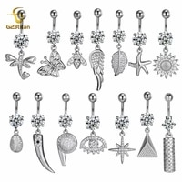 g23titanium 16g barbell belly button ring cz crystal pendant flower butterfly navel ring wave sexy woman bikini piecring jewelry