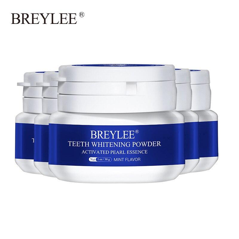 BREYLEE Teeth Whitening Powder Toothpaste Dental Tools White Teeth Cleaning Oral Hygiene Toothbrush Gel Remove Plaque Stain 5pcs