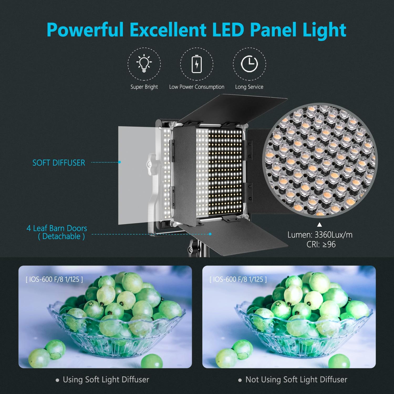 Neewer LED Video Light Panel video lighting CRI 95 660 Light+U Bracket Barndoor for Studio/YouTube/Photography/Video EU/AU Plug enlarge